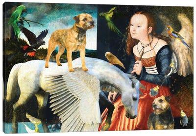 Border Terrier Angel And Pegasus Canvas Art Print