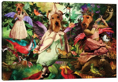Airedale Terrier Enchanted Forest Canvas Art Print