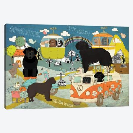 Newfoundland Dog Happy Journey Canvas Print #NDG1615} by Nobility Dogs Art Print