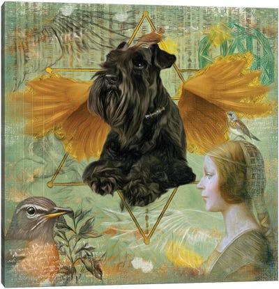 Black Miniature Schnauzer Angel Da Vinci Canvas Art Print
