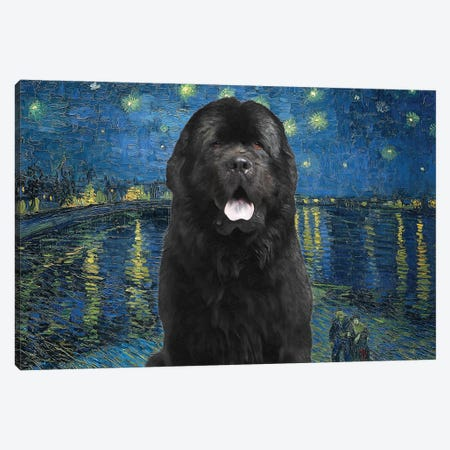 Newfoundland Dog Starry Night Over The Rhone Canvas Print #NDG1626} by Nobility Dogs Canvas Artwork