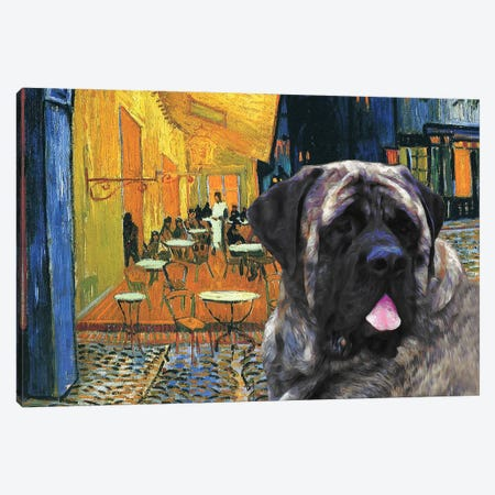 English Mastiff Café Terrace At Night Canvas Print #NDG1627} by Nobility Dogs Canvas Wall Art