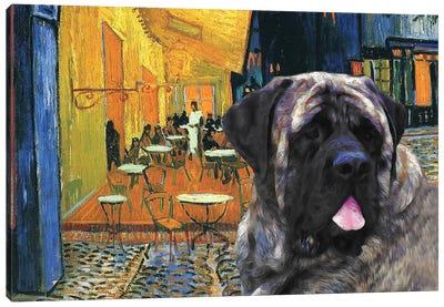 English Mastiff Café Terrace At Night Canvas Art Print