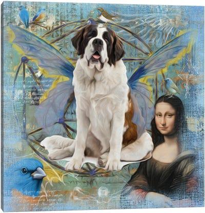 St. Bernard Dog Angel Canvas Art Print