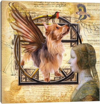 Australian Terrier Angel Da Vinci Canvas Art Print