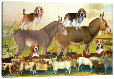 Beagle And Donkey The Cornell Farm Canvas Art Print