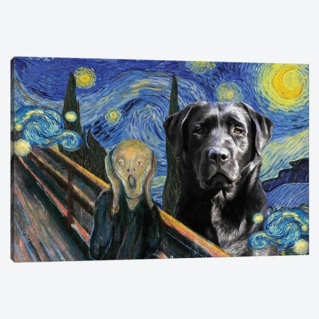 Labrador Retriever The Scream in Starry Night Canvas Print #NDG1685} by Nobility Dogs Canvas Wall Art