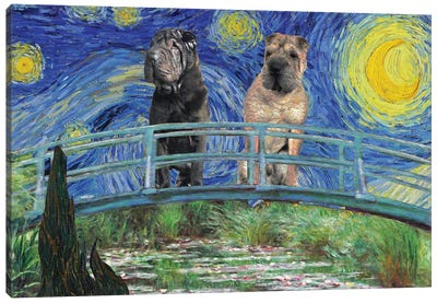 Shar Pei Starry Night Japanese Footbridge Canvas Art Print