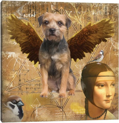 Border Terrier Angel Da Vinci Canvas Art Print