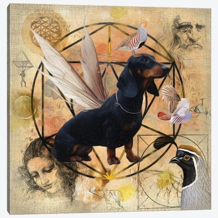 Black Dachshund Angel Canvas Print #NDG179} by Nobility Dogs Canvas Art