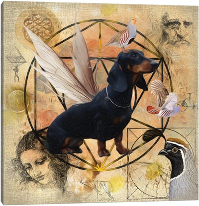 Black Dachshund Angel Canvas Art Print