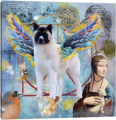 Akita Dog Angel Da Vinci Canvas Art Print