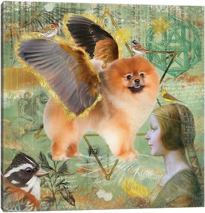 Pomeranian Angel Da Vinci Canvas Art Print