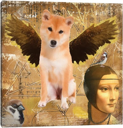 Red Shiba Inu Angel Da Vinci Canvas Art Print