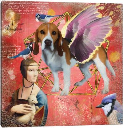 Beagle Angel Da Vinci Canvas Art Print