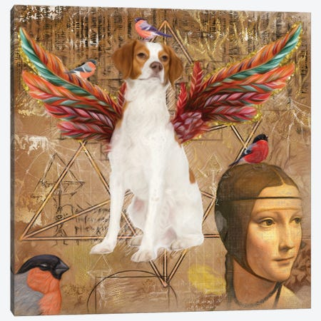 Brittany Spaniel Angel Da Vinci Canvas Print #NDG189} by Nobility Dogs Canvas Art Print