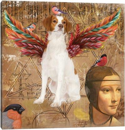 Brittany Spaniel Angel Da Vinci Canvas Art Print