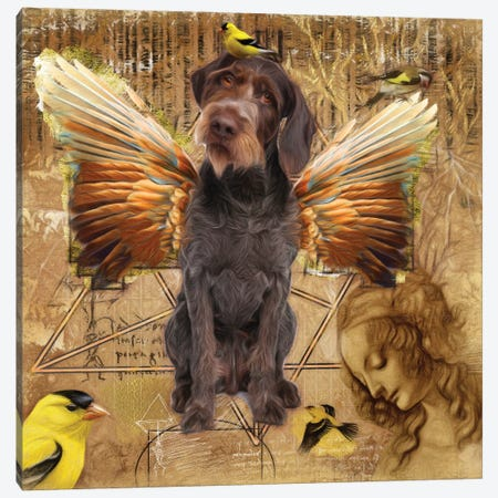 German Wirehaired Pointer Angel Da Vinci Canvas Print #NDG192} by Nobility Dogs Canvas Art
