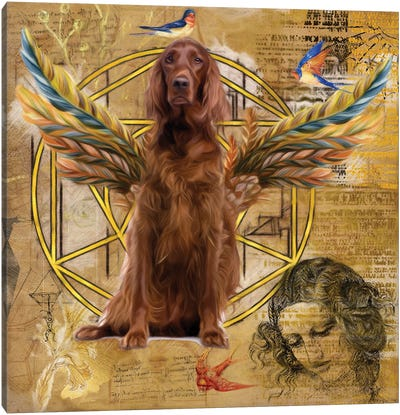 Irish Setter Angel Da Vinci Canvas Art Print