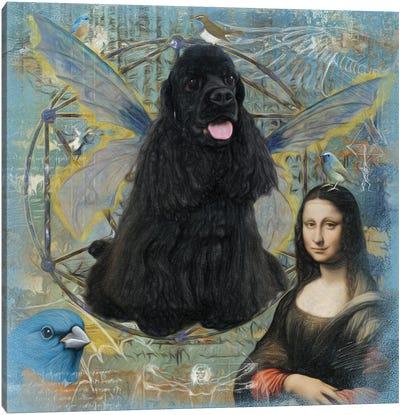 Black Cocker Spaniel Angel Da Vinci Canvas Art Print