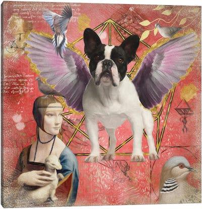 Pied French Bulldog Frenchie Angel Canvas Art Print