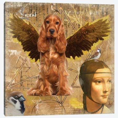 English Cocker Spaniel Angel Da Vinci Canvas Print #NDG203} by Nobility Dogs Canvas Artwork