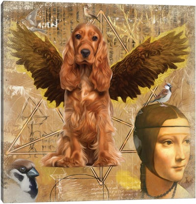 English Cocker Spaniel Angel Da Vinci Canvas Art Print