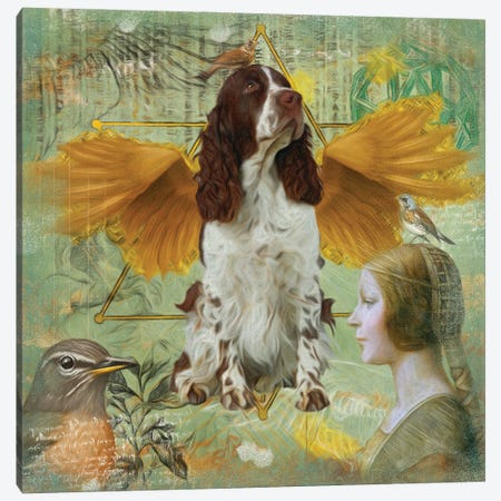 English Springer Spaniel Angel Da Vinci Canvas Print #NDG204} by Nobility Dogs Art Print