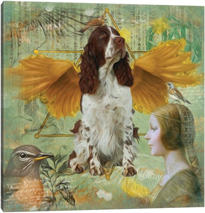 English Springer Spaniel Angel Da Vinci Canvas Art Print