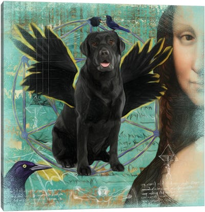 Black Labrador Retriever Angel Da Vinci Canvas Art Print