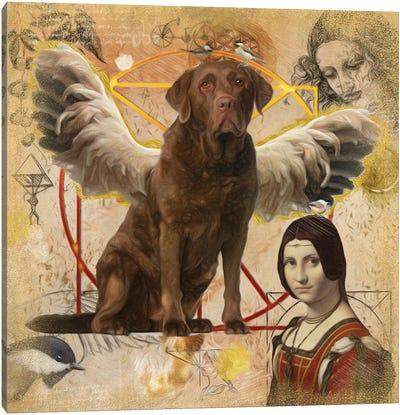 Chocolate Labrador Retriever Angel Da Vinci Canvas Art Print