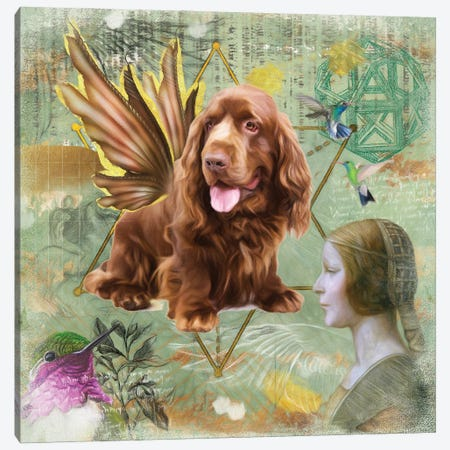 Sussex Spaniel Angel Da Vinci Canvas Print #NDG211} by Nobility Dogs Art Print
