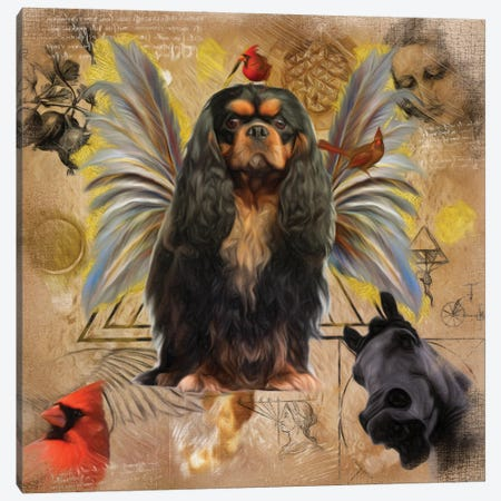 Cavalier King Charles Spaniel Black And Tan Angel Canvas Print #NDG214} by Nobility Dogs Canvas Artwork