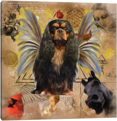 Cavalier King Charles Spaniel Black And Tan Angel Canvas Art Print