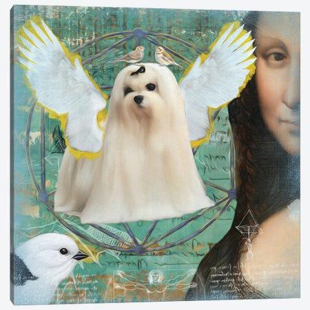 Maltese Dog Angel Da Vinci Canvas Print #NDG21} by Nobility Dogs Canvas Artwork