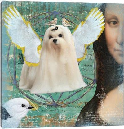 Maltese Dog Angel Da Vinci Canvas Art Print