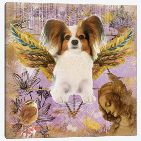 Papillon Dog Angel Da Vinci Canvas Print #NDG22} by Nobility Dogs Canvas Art