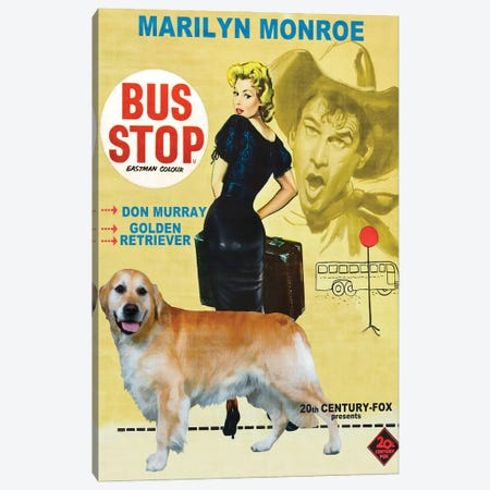 Golden Retriever Bus Stop Movie Canvas Print #NDG255} by Nobility Dogs Canvas Wall Art