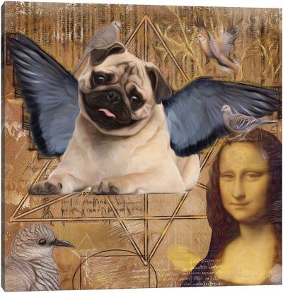 Pug Angel Da Vinci Canvas Art Print