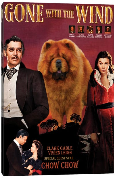 Chow Chow Gone With The Wind Movie Canvas Art Print
