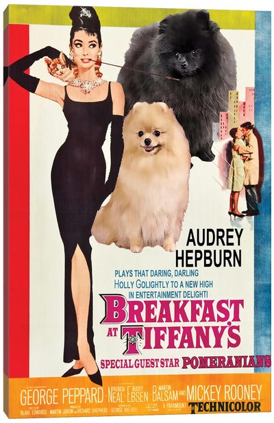 Pomeranian Breakfast At Tiffany Canvas Art Print