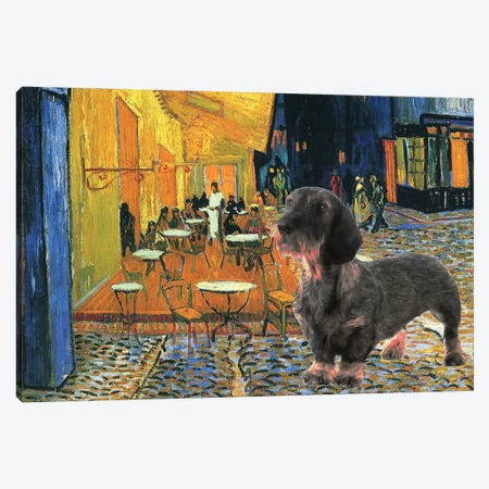 Wirehaired Dachshund Cafe Terrace At Night Canvas Print #NDG284} by Nobility Dogs Art Print