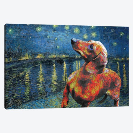 Dachshund Starry Night Over The Rhone Canvas Print #NDG285} by Nobility Dogs Canvas Print