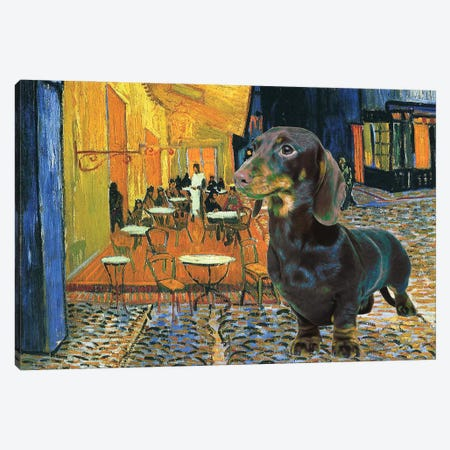 Dachshund Cafe Terrace At Night Canvas Print #NDG287} by Nobility Dogs Art Print