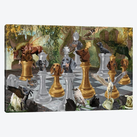 Dachshund Chess Checkmate Canvas Print #NDG292} by Nobility Dogs Canvas Art Print