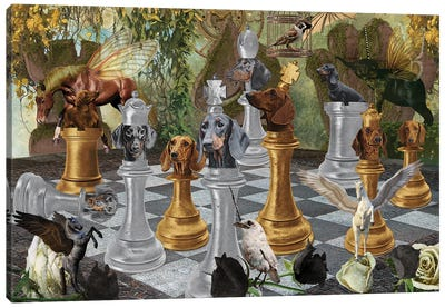 Dachshund Chess Checkmate Canvas Art Print