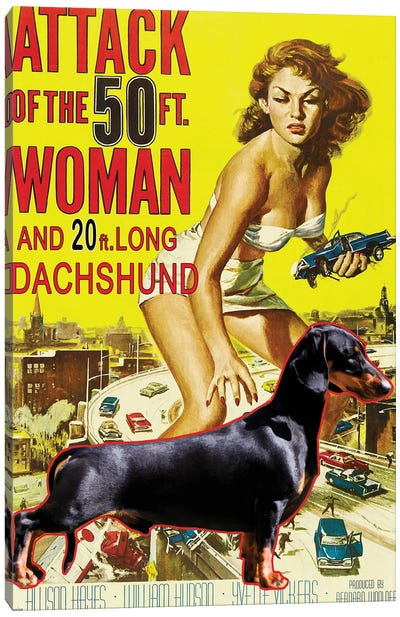Black Dachshund Attack Of The 50Ft Woman Canvas Art Print