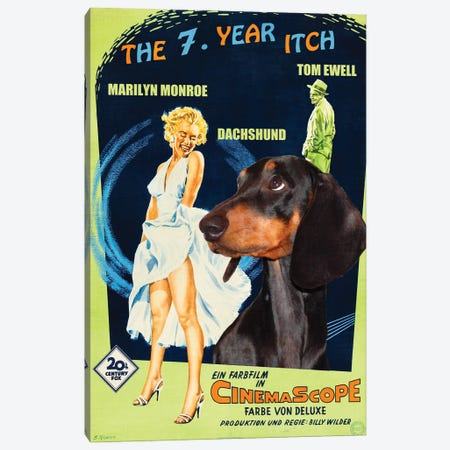 Black Dachshund The Seven Year Itch Canvas Print #NDG295} by Nobility Dogs Canvas Wall Art