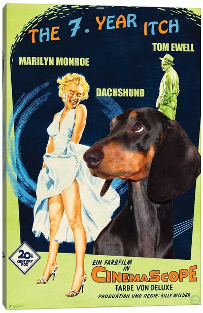 Black Dachshund The Seven Year Itch Canvas Art Print