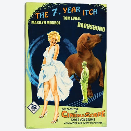 Red Dachshund The Seven Year Itch Canvas Print #NDG296} by Nobility Dogs Canvas Wall Art